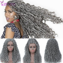 Braided Wigs Dreadlocks Faux-Locs Grey Hair-24inch Natural Long Synthetic-Wig Women/men