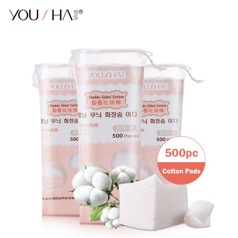 YOUSHA 500Pcs Nail Wipes Cotton Pads Nail Polish Remover Cotton Wipes Facial Cleaning Tissue UV Gel Polish Remover Pads Tips Art