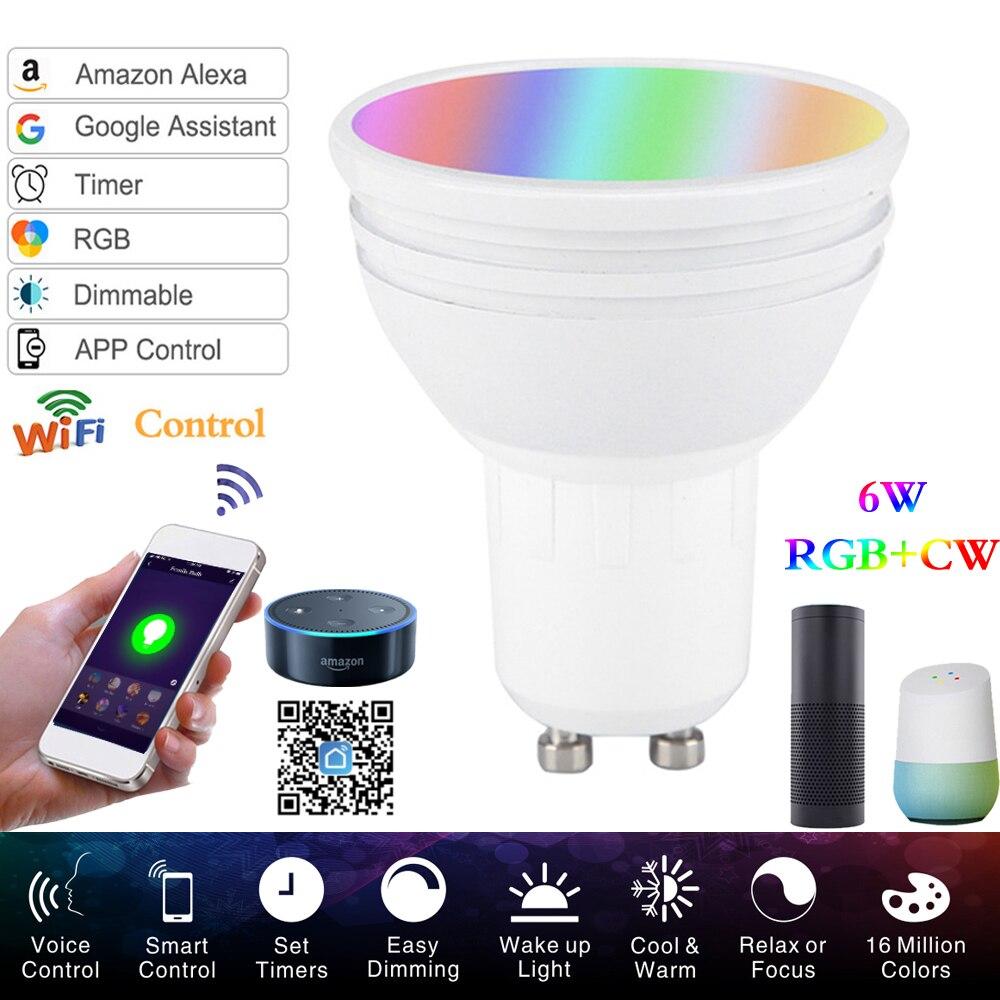 RGB Bulb Lamp RGBW LED GU10 LED Smart WiFi Light LED Spotlight 6W Wake-UpCompatible With Alexa Google Assistant