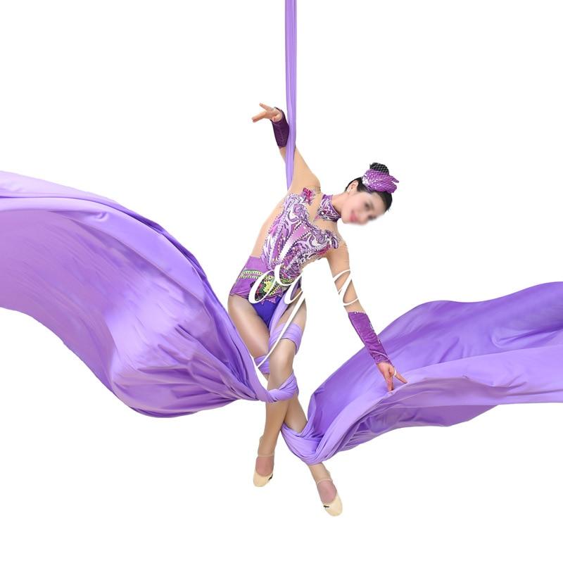 Antes de Fitness Sedas de Tecido para Voar Terapia de Terapia Jardas Metros Ioga Acroubático Dança Yoga Balanço Inversão Fly Air 11 10