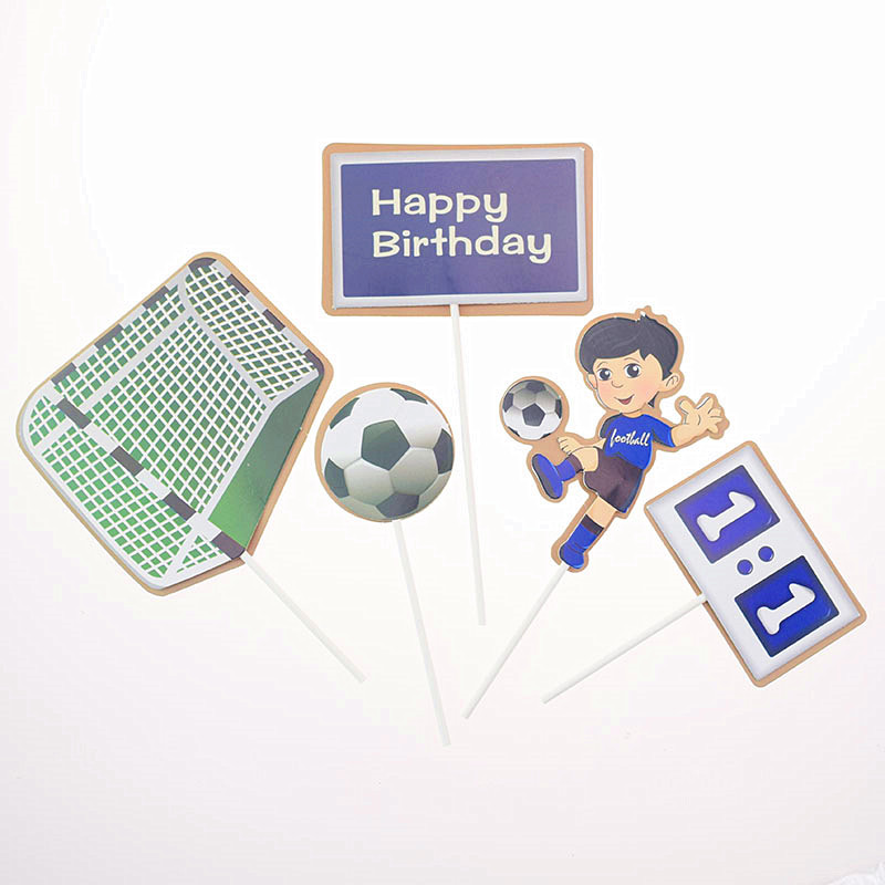 5pcs/set Cake Topper Foottball Soccer Sports DIY Cake Cupcake Toppers Boys Men Happy Birthday Party Wedding Dessert Decor Flags-3