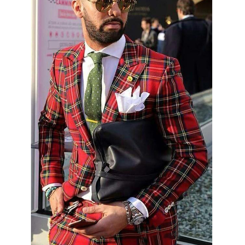 Red Plaid Mens Suits For Wedding 2 Pieces Custom Made Groom Suits Slim Fit Wedding Tuxedos Jacket+Pants