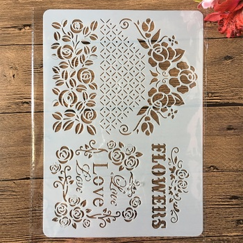 A4 Love Flowers Edge DIY Craft Layering Stencils Painting Scrapbooking Stamping Embossing Album Paper Card Template merry christmas set sticker painting stencils for diy scrapbooking stamps home decor paper cake card template decoration album