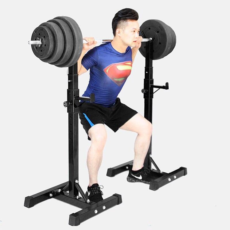 Barbell Acero soporte ajustable multifunción tipo Split Squat Rack mancuernas de levantamiento de pesas de entrenamiento de fuerza Fitness de prec - 2