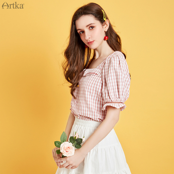 ARTKA 2020 Summer New Women Blouse French Vintage Square Collar Shirts Short Lantern Sleeve Pink Plaid Blouse Women SA25100X юбка artka qb17249d