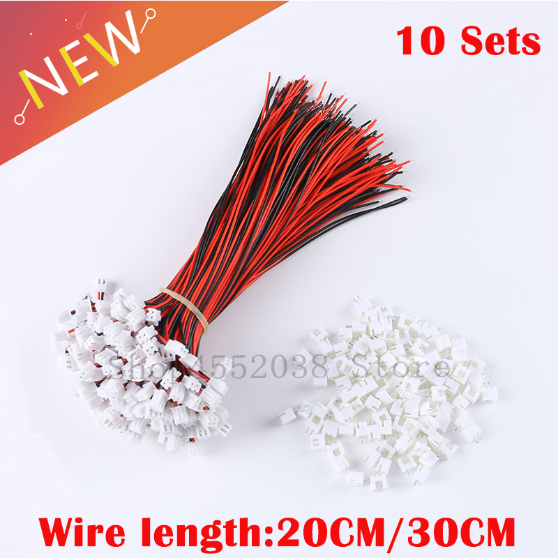 10 Sets/Lot 26AWG <font><b>JST</b></font> <font><b>XH2.54</b></font> 2 Pin Connector Plug Wire Cable 200mm/300mm Length <font><b>Male</b></font> Female Plug Socket wire connector image