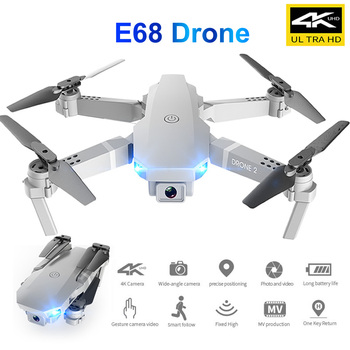 RC E68 Folding Unmanned Drone UAV Dual Camera Head 4K for Aerial Photography Four-Axis Aircraft Remote Control 2020 new quadcopter with high definition camera fpv uav small unmanned aerial v uav stabilization professional 4k uav drone gps