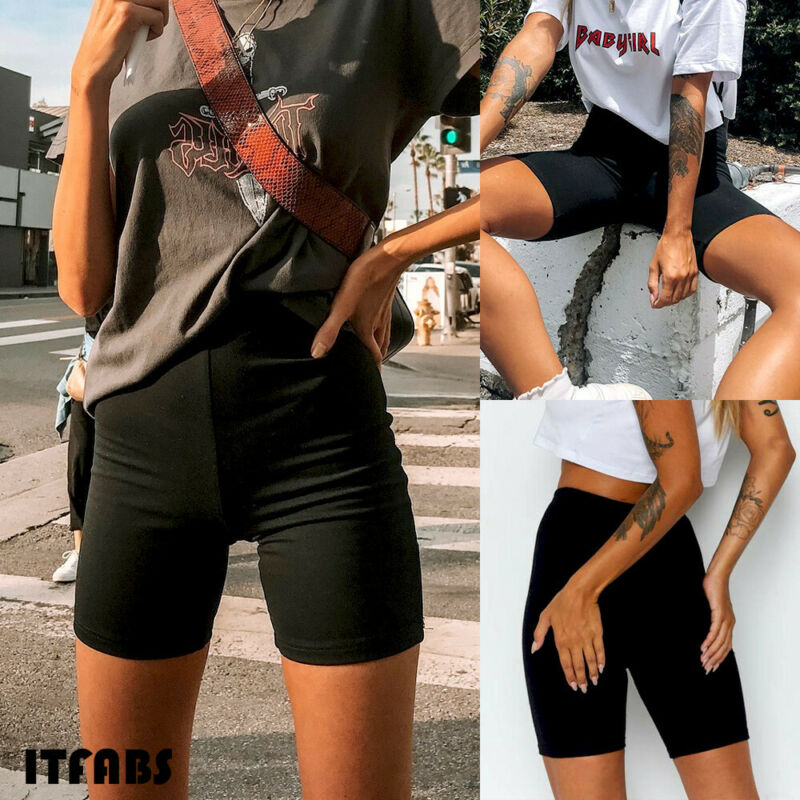 Summer Women's Cycling Shorts Stretch Plain Casual Sports Fitness Ladies Elastic Waist Elastic Black Slim Shorts