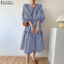 Stylish Summer Check Mid-Calf Dress ZANZEA Women's Puff Sleeve Sundress Vestidos Female V neck Casual Robe Femme Plus Size 5XL 7