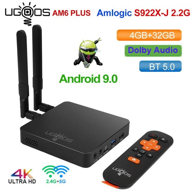UGOOS AM6 Plus DDR4 4GB 32GB Amlogic S922X J صندوق التلفزيون أندرويد 9.0 مربع التلفزيون الذكية دعم 4K المزدوج واي فاي 1000 متر بلوتوث مشغل الوسائط