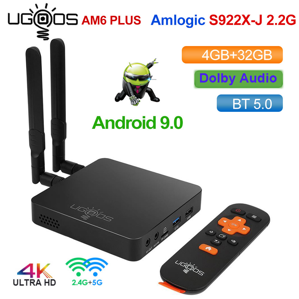 UGOOS AM6 Plus DDR4 4GB 32GB Amlogic S922X-J TV BOX Android 9.0 Smart TV BOX Support 4K Dual WiFi 1000M Bluetooth Media Player