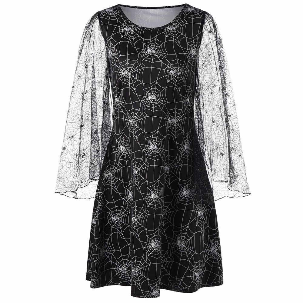 Women Loose Halloween Party Cobweb Print Yarn vestido de festa de luxo Long Sleeves Mini Dresses Party Costume robe femme FC