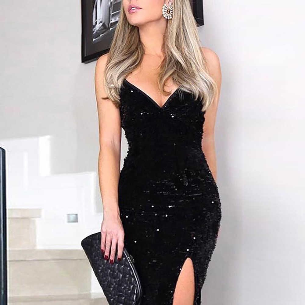ノースリーブロングスパンコールドレス女性高スリットスパゲッティストラップドレスセクシーな V ネッククラブパーティードレスマキシ黒スパンコール vestidos