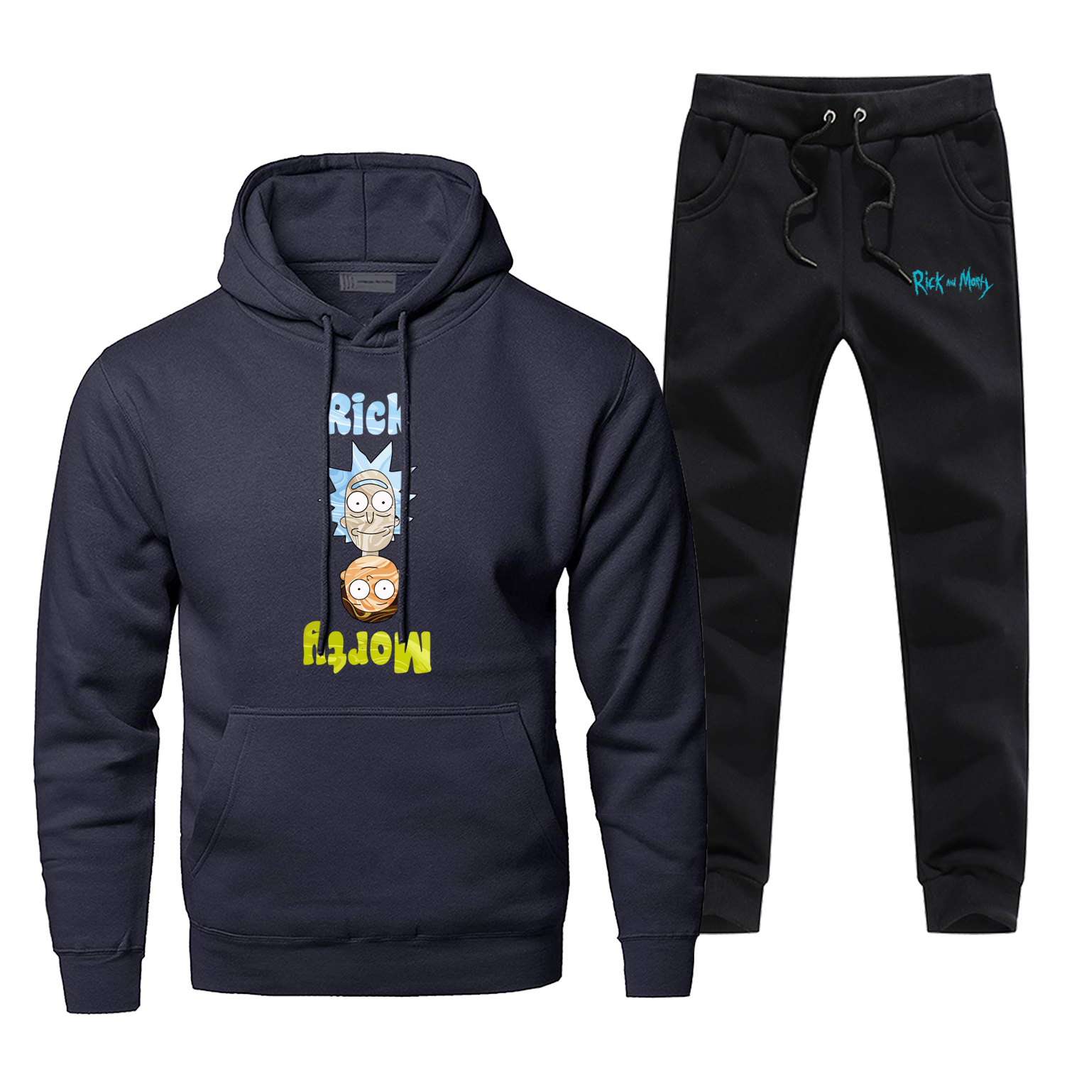 Funny Rick And Morty Upside Down Hoodies+pants 2pcs Sets Men Fashion Sweatshirt Hip Hop Sportswear Fleece Streetwear Sweatpants