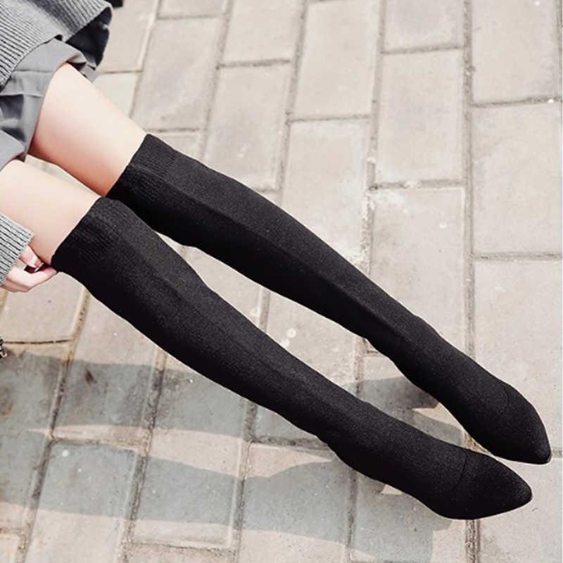 HIBISMIX สีดำผู้หญิงกว่าเข่าบู๊ทส์ผ้ายืด Pointed Toe ส้นสูงรองเท้าผู้หญิงรองเท้า 1356