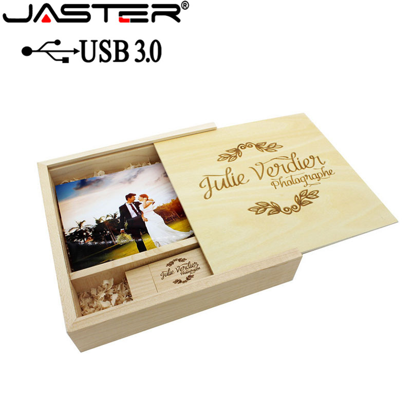 JASTER USB 3.0 Photo Album Wood Usb+Box Usb Flash Drive Memory Stick Pendrive 4GB 16GB 32GB 64GB Photography Gift 1PCS Free Logo