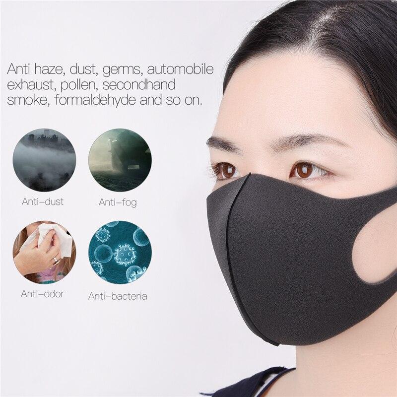 3pcs Sponge Mouth Mask Unisex Black Kpop Face Mask Washable Anti Dust Fog Nose Cover Wind Proof Mouth Cover