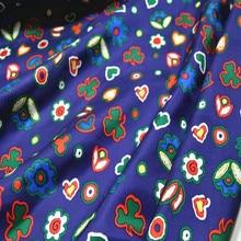 Новое поступление шелковая саржа с принтом фарбик в синем цвете с цветком для женской одежды