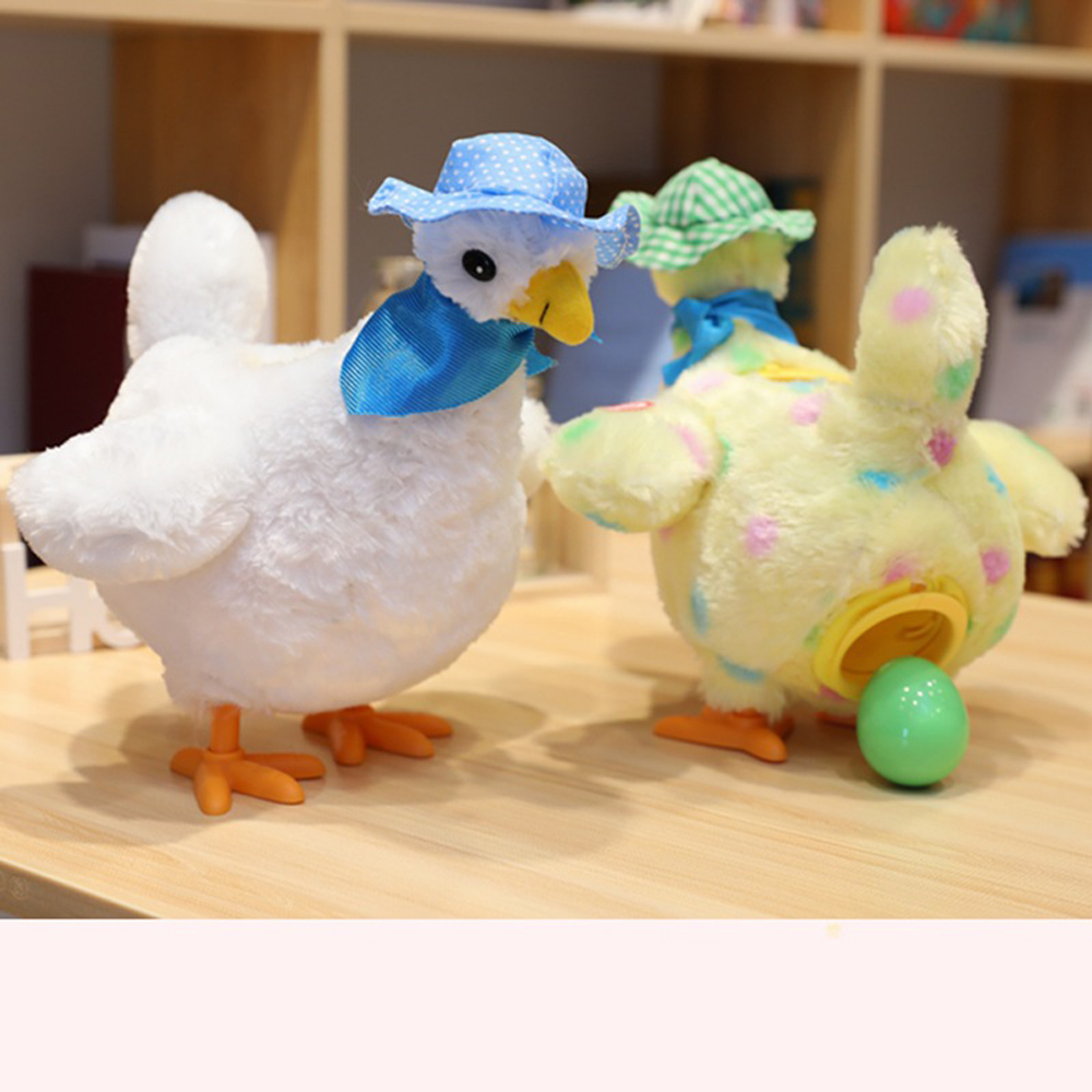 Baby Toys A Hen Laying Egg Plush Chicken With 3pcs Eggs Toys For Kids Novelty Singing Dancing Hen Funny Party Game Toys Gift