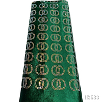 Green Nigeria Velvet fabric 2020 high quality lace Luxury Embroidered African Velvet lace fabric with Stones for Party HJ3583