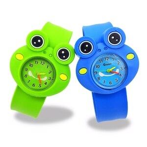 5D żaba zegarek dzieci Cartoon zegarek dziecięcy pasek silikonowy Slap nadgarstek dzieci zegarki kwarcowe najlepsze dziecko zegarek prezent urodzinowy