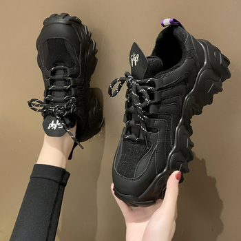 New 2020 Spring Autumn High-end Women Shoes Thick-soled Sponge Cake Black Old Platform Slim Casual Sports Shoes Woman Sneakers