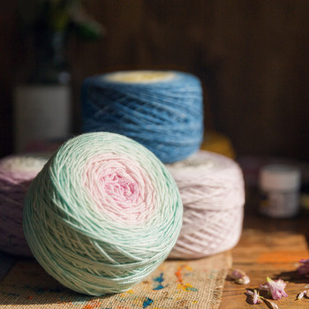 Multi-colored 320m Multicoloured Wool Cake Long Section-Dye Thread Sweater Shawl Knitting Yarn Rainbow Color Sewing Supply image