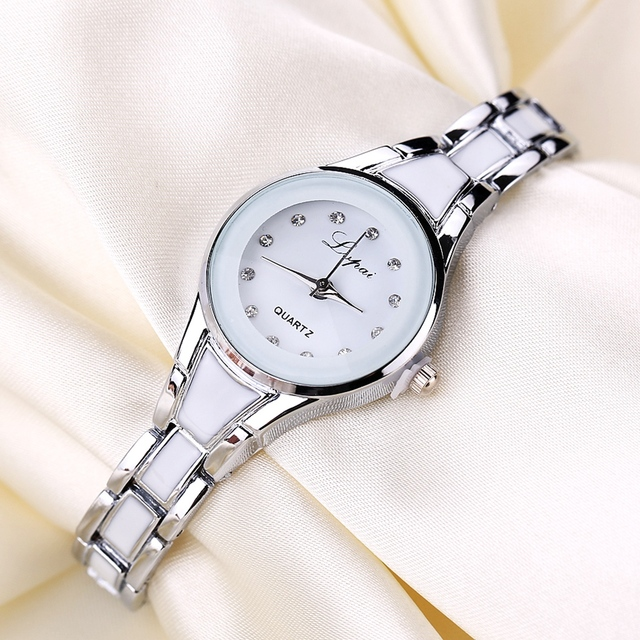 Women Watches Luxury Rose Gold Silver Bracelet Wristwatch Ladies Alloy Simple Casual Quartz 2