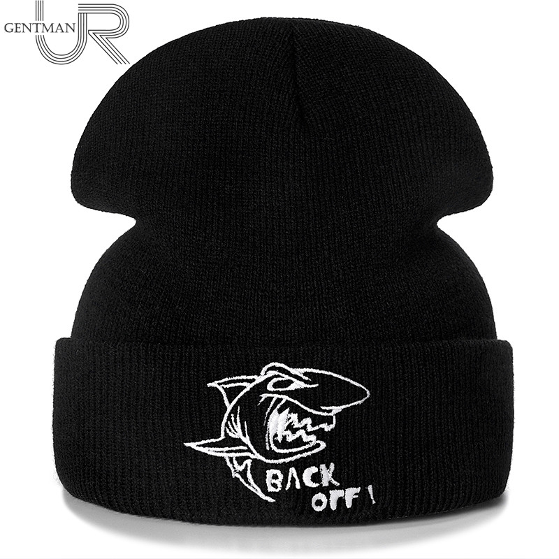 New Shark Back Off Embroidery Casual Winter Hats For Men Women Warm Knitted Hat Solid Color Streetwear   Beanie   Hat Unisex Ski Hat