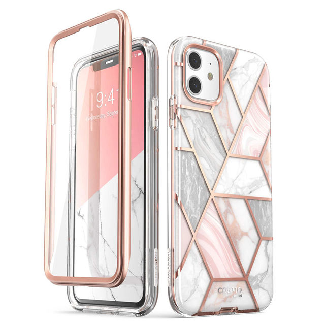I BLASON For iPhone 11 Case 6.1 inch (2019 Release) Cosmo Full Body Glitter Marble Bumper Cover with Built in Screen Protector