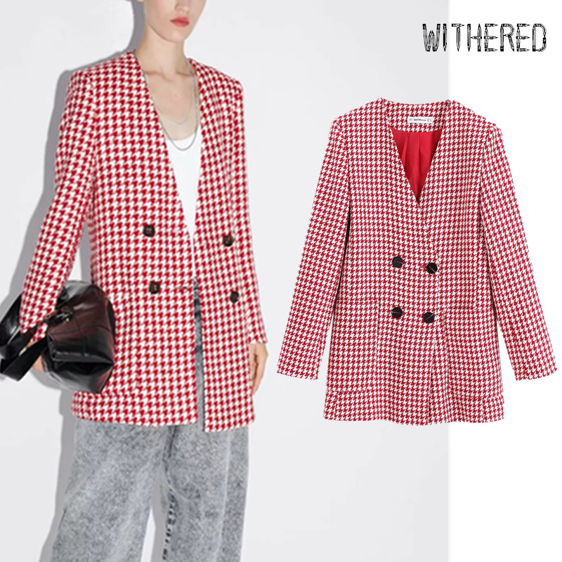 Withered 2019 Winter Blazer Feminino England Vintage Elegant Houndstooth Double Breasted Blazer Mujer 2019 Women Jackets Tops