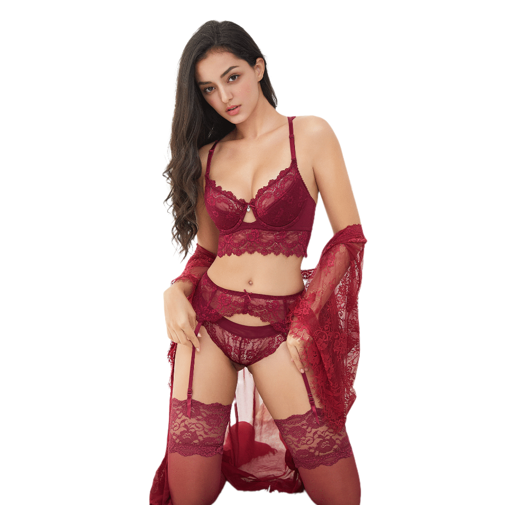 Sexy lace thin cotton cup breast bra set (bra+panty+garter belt +stocking) 4pieces/lots Lingerie Set 1