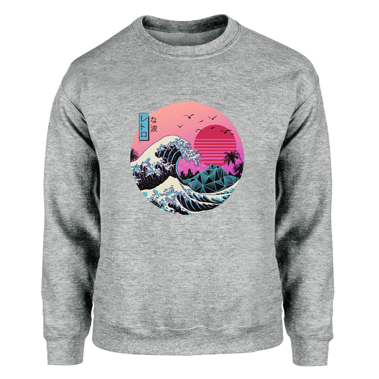 The Great Retro Wave Japan Anime Vaporwave Kanagawa Sweatshirts Men Crewneck Hoodies Painting Raglan Harajuku Fleece Streetwear