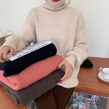 Ailegogo Women Turtleneck Knitted Pullovers Winter Casual Female Solid Color Loose Sweater Korean Style Ladies Knitwear Tops 1