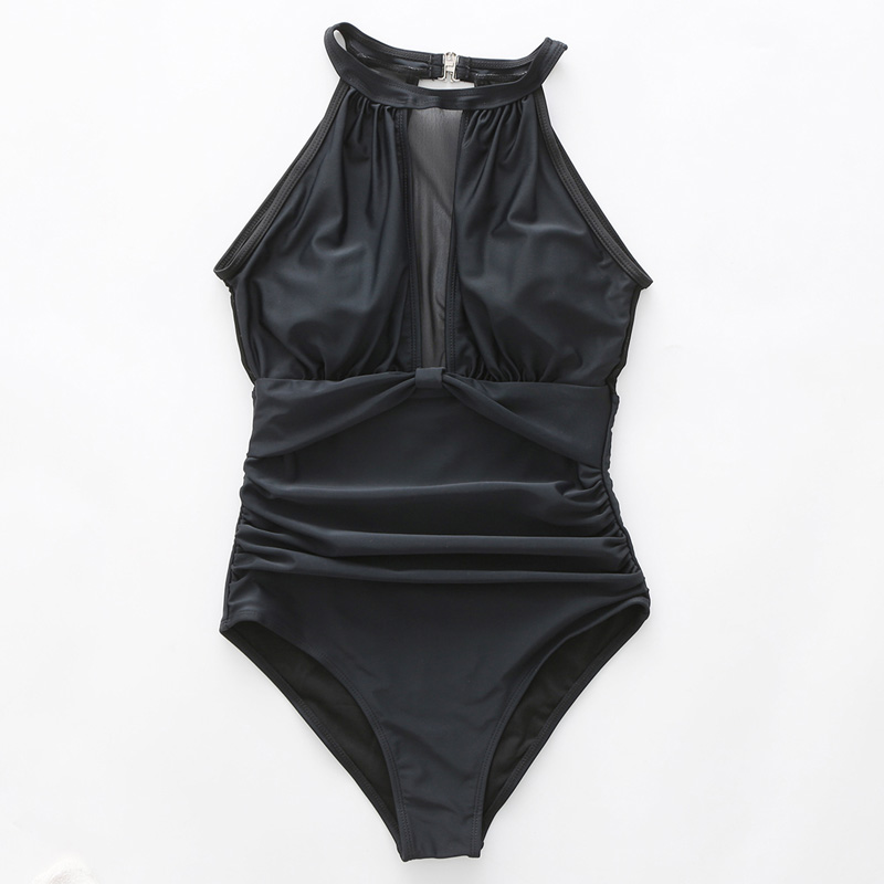 Clearance SaleRiseado One-Piece Swimsuit Bathing-Suits Mesh Ruched Women Sexy Beach-Bathers Solid High-Neck
