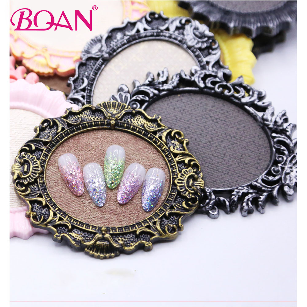 BQAN 1 Pc Oval Retro False Nail Art Plate Practice Tips Display Stand Nail Art Works Showing Board Palette Manicure Nail Tools
