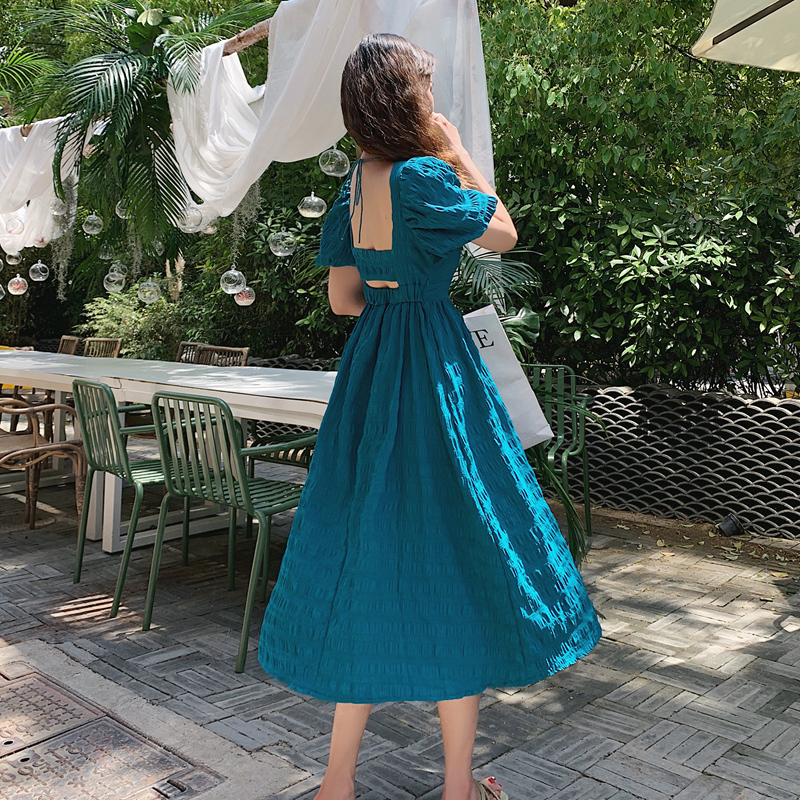 Blue Dress For Women Summer Temperament Short Sleevevintage Cozy Elegant Intellectual Generosity Ladies' Dresses