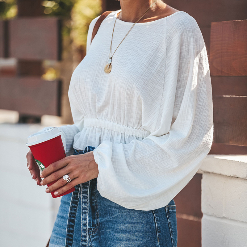 ALWAYSQ Ruffles Women Batwing Sleeve Top <font><b>Shirt</b></font> Spring Autumn Round Neck High Waist <font><b>Belly</b></font> Loose <font><b>Shirt</b></font> <font><b>White</b></font> Black Streetwear image