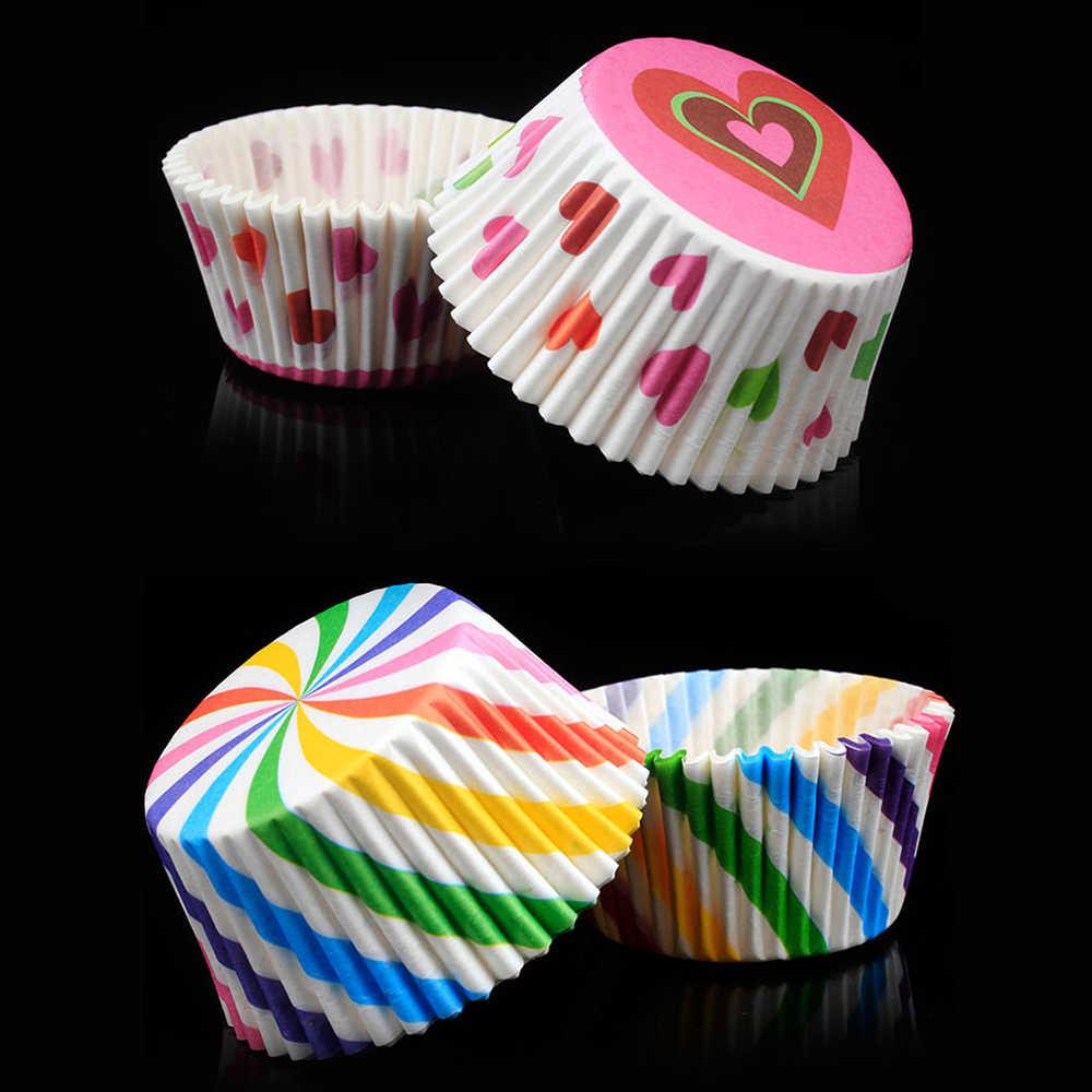 100 ชิ้น/เซ็ตมัฟฟินคัพเค้กถ้วยกระดาษเค้กรูปแบบ Cupcake Liner มัฟฟินกล่องถ้วยกรณีพรรคถาดเค้กตกแต่งเครื่องมือ