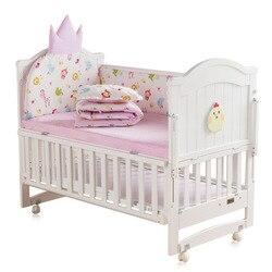 Детская кроватка, кровать bb, многофункциональная детская кровать для новорожденных, сшитая кровать из цельного дерева, Неокрашенная кроват...
