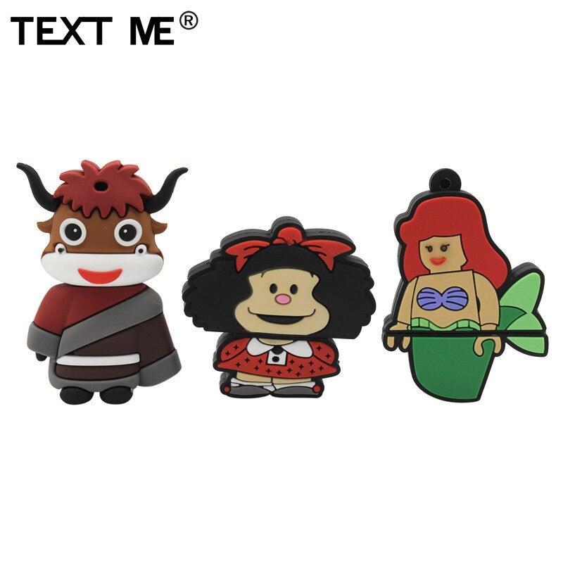 TEXT ME Cute Cartoon Mermaid Bull Devil Usb 2.0 Usb Flash Drive  4GB 8GB 16GB 32GB 64GB Wdeeing Gift