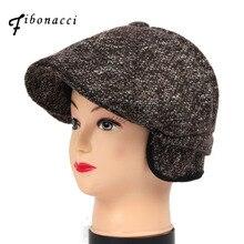 Newsboy-Caps Forward-Cap Beret-Hats Retro Winter Fibonacci Wool Men Ivy Middle-Aged Warm