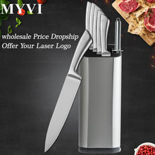 Stainless Steel Kitchen Knives Accessories 6pcs Cooking Knife+Knife Block+Sharpener Bar Cleaver Vegetable Knives Dropshipping майка борцовка print bar knife hawk