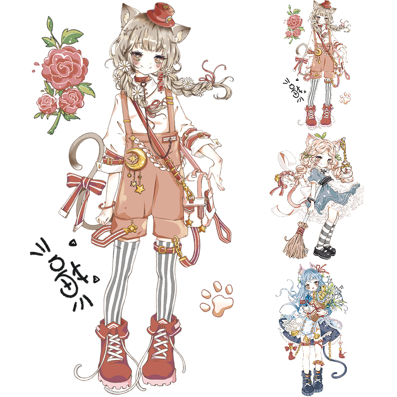 Lady Cat Adhesive Tape Special Oil Gilding Lovely Cat Girl Diy Decoration Figure
