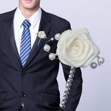 6piece/lot Ivory Ribbon Wedding Flowers Groom Groomsmen Boutonniere wedding Prom Man Suit Lapel Pin Brooch Ceremony Flower XH541