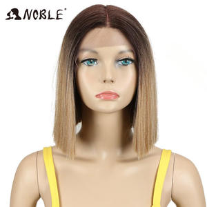 Noble Wig Hair Short Lace-Front 1b-Color Straight Black-Women Ombre 10inch for Synthetic