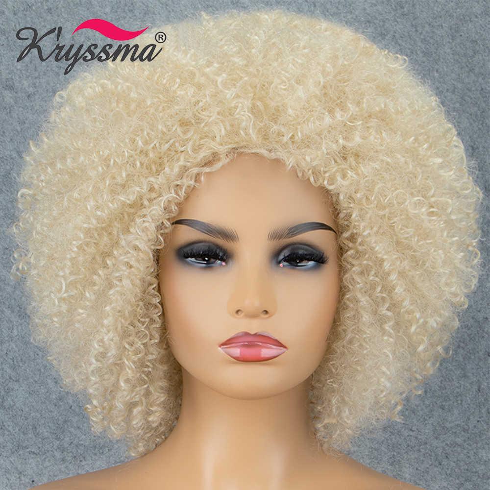 Kryssma Synthetische Spitze Vorne Perücke Verworrene Lockige Natürliche Schwarze Perücken Für Frauen Haaransatz 1B Wärme Beständig Perücken Für Schwarze Frauen faser