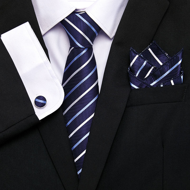 Vangise Men`s Classic Tie 100% Silk Novelty Striped  45 Styles Hanky Cufflinks Sets For Wedding Business Party