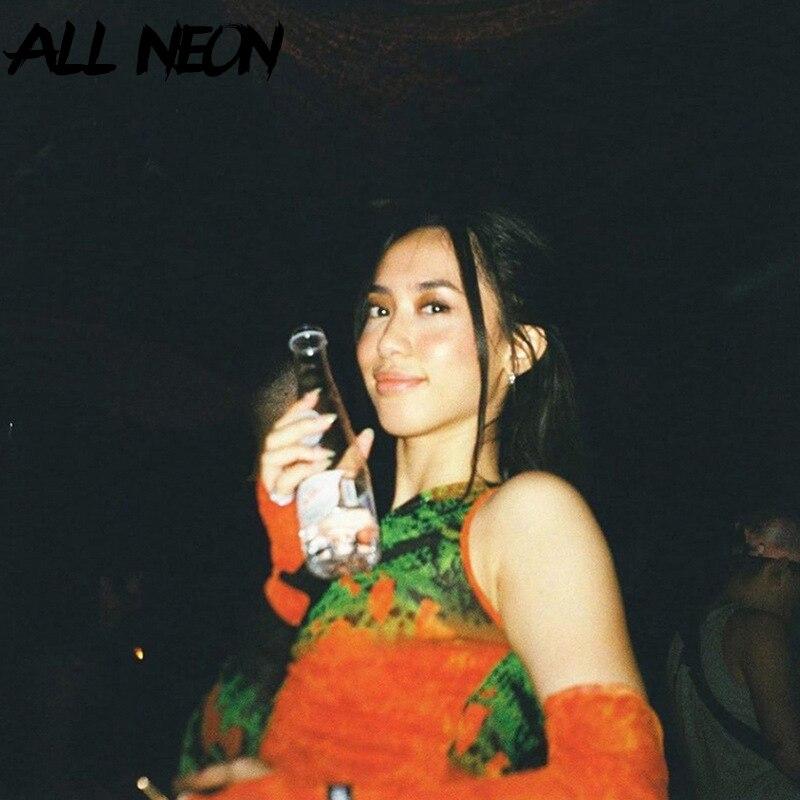 ALLNeon-Crop Tops transparentes con hombros descubiertos Punk para mujer, camisetas con grafiti gráfico de cuello en V de manga larga con guantes, camisetas de malla frontal fruncida Y2K