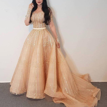 Luxury Champagne Beaded Sequined Prom Dresses Full Sleeves A-line Prom Gowns Abendkleider Saudi Arabic Party Dresses 2